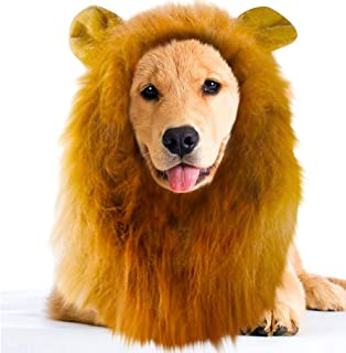 SunGrow Lion Mane Wig with Ears, Photo Prop, Fancy Costume for Dogs & Cats, Perfect Lion Hat for Halloween & Cosplay Parties, Realistic, Funny, Cute Headgear