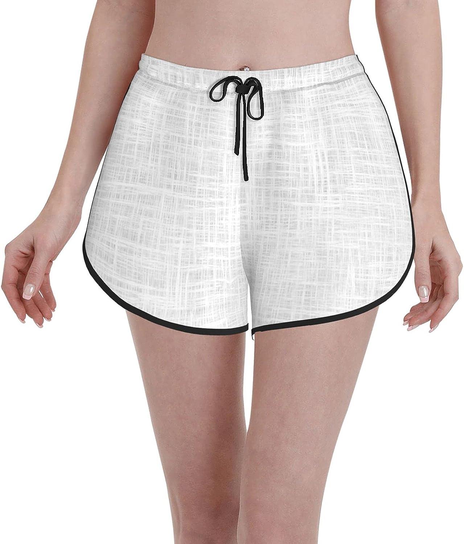 Janrely Comfortable Casual Board Shorts for Women Girls,White Antique,Quick Dry Swim Trunks Beach Wear Sportswear,XXL