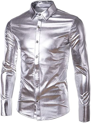 Internet-Camisa de Manga Larga con Revestimiento Brillante de Charol para Hombre(Negro/Azul/Oro/Púrpura/Plata M-3XL)