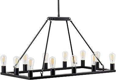 Sonoro Rectangular Kitchen Island Light – Black w/Bulbs - Linea di Liara LL-CH5-1836-5BLK