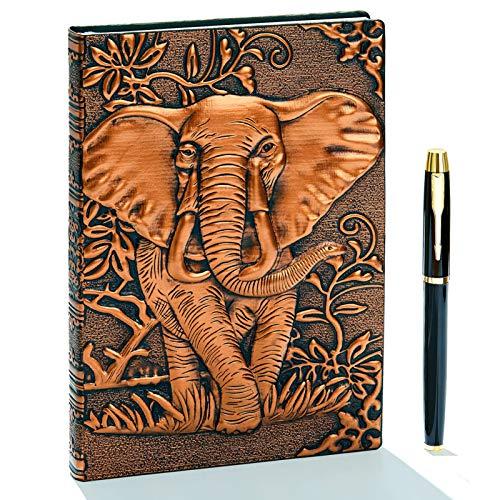 3D Vintage Leder Notizbuch,A5 Liniert, Geprägte Reisetagebuch Tagebuch Journal Buch Personal Organizer Notizheft Hardcover Business Schule Geschenk für Männer Frauen Kinder (Elefant,RedBronze)