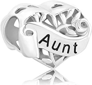 LuckyJewelry Sterling Silver I Love You Family Tree Leaves Heart Charms Bead fit Chamilia Charm Bracelet
