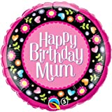 Happy Birth<span class='highlight'>day</span> Mum <span class='highlight'>Pink</span> & Floral Border 18 inch <span class='highlight'>Qualatex</span> Suprafoil Balloon