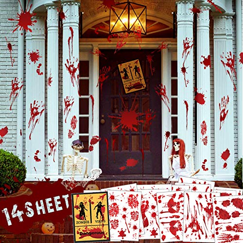 Halloween Bloody Decorations Stickers, 136Pcs Handprint Footprint Bloody Floor Clings, 14 Sheets Vampire Zombie Fake…
