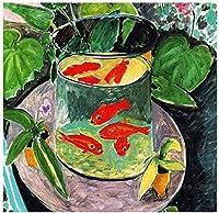 大人のための数字で描くDIY油絵学生初心者キャンバス絵画数字でアクリル油絵家の装飾カップの金魚40x50cmフレームレス