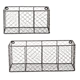 DII Farmhouse Vintage Chicken Wire Wall Basket for Pantry, Kitchen, Office, Bathroom, Mudroom, Entryway, Laundry Room, Assorted Set of 2, Rustic Bronze