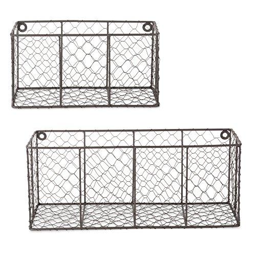 DII Chicken Wire Collection Farmhouse Vintage, Assorted Wall Basket, Rustic Bronze
