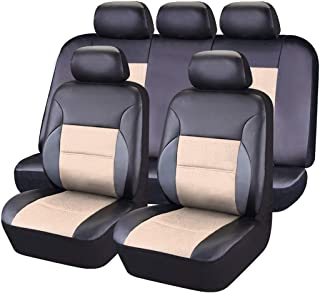 NEW ARRIVAL- CAR PASS 11PCS Luxurous Leather Universal Car Seat Covers Set,Universal fit for Vehicles,Cars,SUV,Airbag Compatible (Black and Beige)