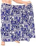 LA LEELA árbol de Ropa de Playa plama Impresa Traje de baño Traje de baño Partido de los Hombres Casuales Relajarse Pareo Azul_F331 72'X42'