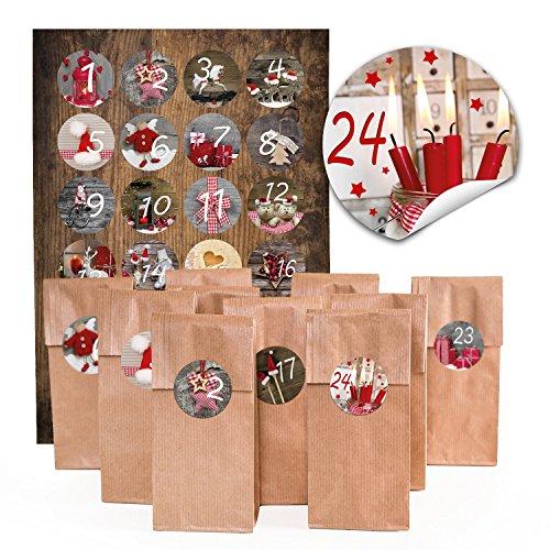 24 braune Adventskalender-Tüten 7 x 4 x 20,5 cm + Aufkleber 1 bis 24 Adventskalender Zahlen Papiertüten natur zum Befüllen und Basteln Fotomotive