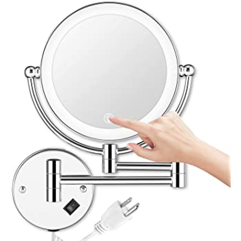 Amazon.com: AMZNEVO Wall Mounted Makeup Mirror LED Lighted Touch