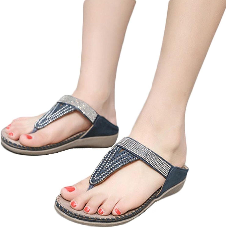 Fheaven Women Flat shoes Sweet Bead Bohemia Slippe Sandals Peep-Toe Outdoor Clip-Toe shoes Flipflop