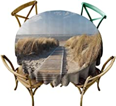 VICWOWONE Decorative Round Tablecloth Seaside Decor Collection Machine Washable Footpath Sunny Day Windy Weather European Beach Grass Germany Landscape Image Print Blue Ivory Diameter55
