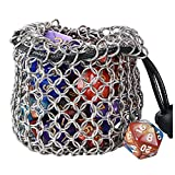 YOUSHARES Drawstring Game Dice Bag - Stainless Steel Chainmail DND Dice Pouch for Metal Polyhedral...