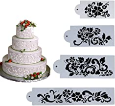 Youzpin 4Pcs Set Wedding Cake Side Border Spraying Decoration Stencil,Flower & Leaf Cake Lace Decoration Mould,Fondant Cake Sugar Sieve Decorating Tools