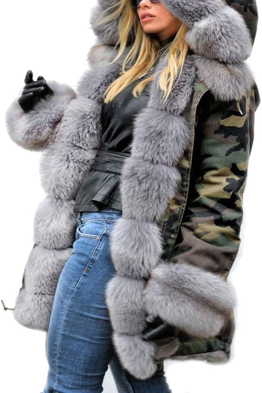 Esast Women Fuzzy Hood Thicken Winter Hooded Faux Fur Lined Outwear