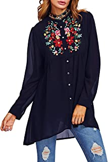Romwe Women's Chiffon Embroidered Floral Button Down Long Sleeve Loose Blouse Top