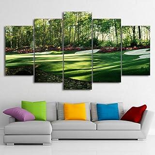 SHUII HD Impreso 5 Piezas del Arte de la Lona Campo de Golf Que Pinta Green Land Wall Pictures para la decoración enmarcada habitación Marco 20x35cm20x45cm 20x55cm