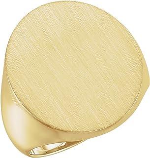 FB Jewels 14K الذهب الأصفر 22x20mm خاتم سيجنيت للرجال مع لمسة نهائية فرشاة الحجم 10