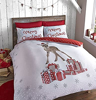 Catherine Lansfield Christmas Reindeer And Gifts Duvet Set In Single And Double