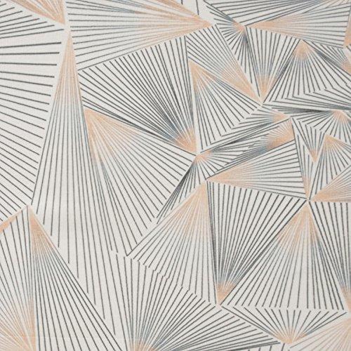 MIRABLAU DESIGN Stoffverkauf Baumwolle Rib Jersey Linienmuster grau und rosa (1-154M), 0,5m
