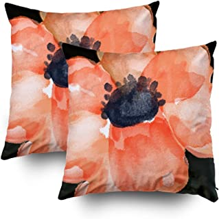 Musesh Pack of 2 Watercolor Flower Salmon Peach Cushions Case Throw Pillow Cover for Sofa Home Decorative Pillowslip Gift Ideas Household Pillowcase Zippered Pillow Covers 16x16Inch