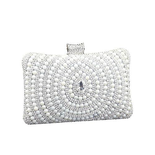 07324f3622 SSMK Womens Pearl Beaded Rhinestone Clutch Bag Elegant Designer Ladies  Evening Bag