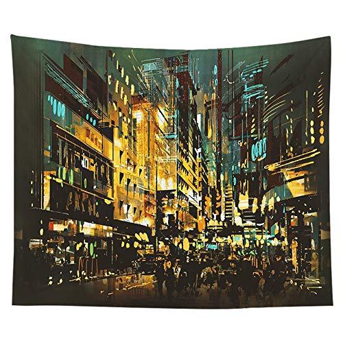Tapiz de paisaje de calle nórdico Edificio Ciudad Calle Vista nocturna Paño de pared Paño de pared de dormitorio Paño de fondo A5 150x200cm