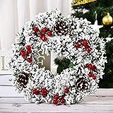 BUANFUA Corona de flores de Navidad de 32 cm con corona de festival para puerta delantera, boda, pared, decoración del hogar