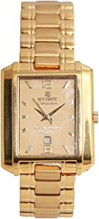 Casual Watch for Men by Accurate, Gold, Rectangle, AMQ980