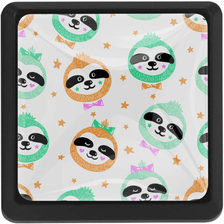 2021 Shiiny Baby Sloths Face Square Drawer Handles Pulls Chicago Mall - Kitc Knobs