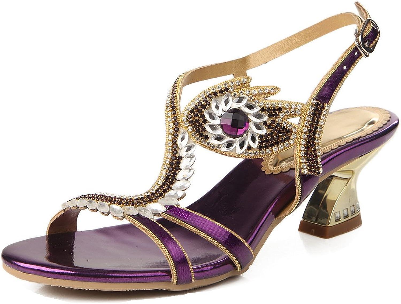 LizForm Women Asymmetrical Evening Heeled Sandals Sparkle Chunky Heels Night Out