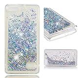 COZY HUT Huawei Honor 4C Hülle Bling Glitzer Diamant Liebe Herzen Flüssig Flowing Liquid 3D Transparent Rückseite Handytasche für Huawei Honor 4C - Gold & Silber Diamantkristall