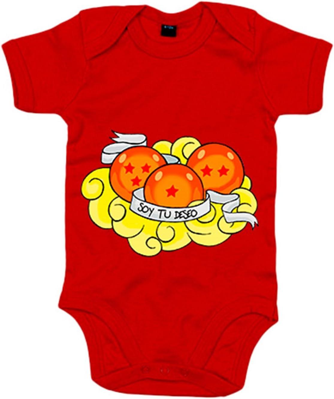 Body beb/é ilustraci/ón frase soy tu deseo cumplido bolas de drag/ón reci/én nacido Rojo 6-12 meses