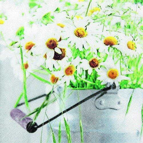 20 Servietten Eimer voller Margeriten/Blumen/Frühling 33x33cm