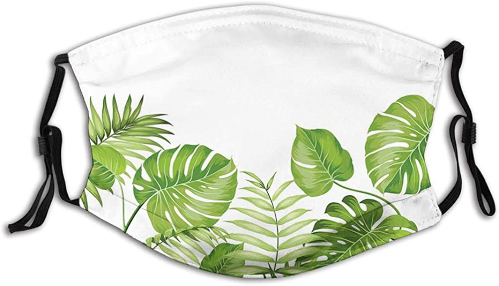 Nature Jungle Forest Rainforest Inspired Leaves Plant Windproof Face Mask,Reusable,Washable Cloth,Face Cover,Cover for Men Women