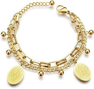 BlinkingSoul Girls Guadalupe Virgin Mary Charms Bracelet for Women 18K Gold Plated