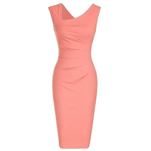 6564e9c69a567 MUXXN Women s Retro 1950s Style Sleeveless Slim Business Pencil Dress