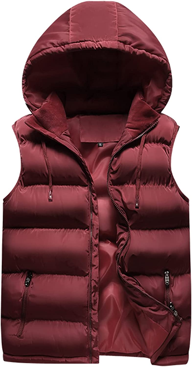 Kissonic Men's Warm Padded Puffer Hoodies Vest Thick Sleeveless Jacket Outerwear Top