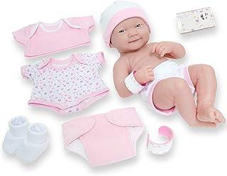"8 piece Layette Baby Doll Gift Set | JC Toys - La Newborn Nursery | 14"" Life-Like Smiling Newborn Doll w/ Accessories | Pi..."
