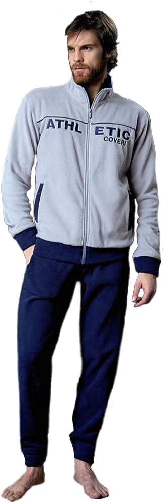 Enrico coveri, pigiama per uomo, in pile aperto,100% poliestere