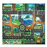 mysticall Kids City Spielmatte, Funny Town Cars Road Teppich Teppich Spielzeugmatte, Kinderspielmatte Lernspielzeug, Vlies