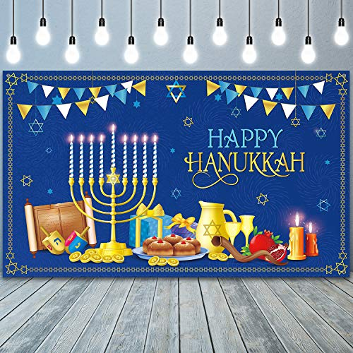 2020 Hanukkah Decorations Happy Hanukkah Theme Banner Backdrop Blue and Gold Fabric Jewish Chanukah Party Background Photo Booth Decor for Jewish Festival Holiday Hanukkah Party Supplies, 71 x 43 Inch