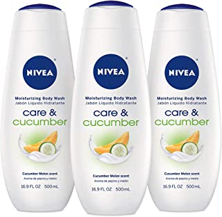 NIVEA Care & Cucmber Moisturizing Body Wash - Revitalizing Scent for Normal Skin - 16.9 fl. oz. Bottle (Pack of 3)