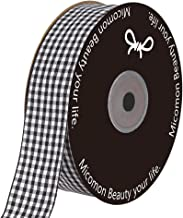 Micomon 1 Inch Black and White Woven Edge Gingham Ribbon 25 Yards Each Roll 100% Polyester (1
