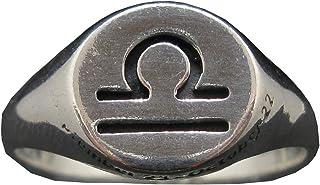 Anello da Uomo in Argento Massiccio Marchiato 925 Segno Zodiacale Bilancia R002107