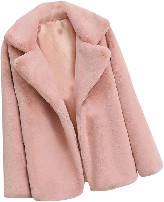 Fieer Womens Fall Winter OpenFront Shaggy Faux Fur Warm Overcoat Coat