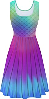 uideazone Women's Sleeveless Scoop Neck Summer Beach Casual Midi A Line Dress