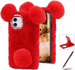 Herzzer Cute Panda Bear Case for Samsung Galaxy A51 5G,Fashion Bowknot Crystal Pom Pom Faux Warm Furry Winter Fluffy Plush...