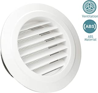 HG POWER 6 Inch Round Air Vent ABS Louver Grille Cover White Soffit Vent with Built-in Fly Screen Mesh for Bathroom Office Kitchen Ventilation